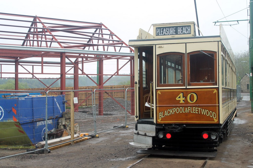 Rapid progress is now being made on the new structure of the new bus depot – a building which will help to alleviate some of the pressure on the tram depot which is becoming more and more crowded – as can be seen in this view. Blackpool & Fleetwood 40 sits outside the depots.