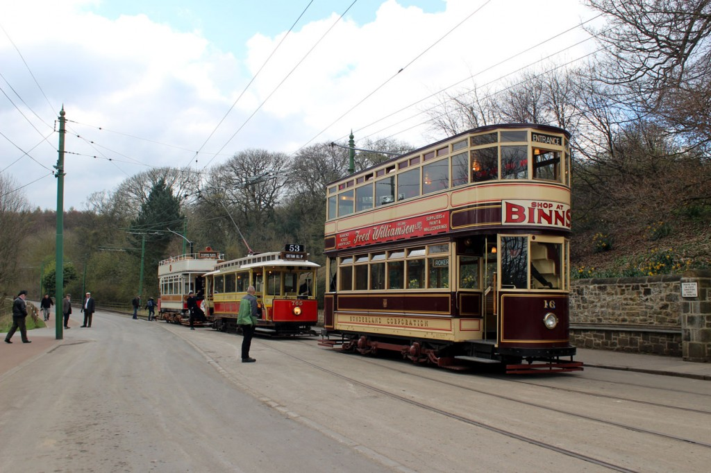 Moving onto 13th April and trams start to enter service with three of the five trams for the day seen here outside the depot: Sunderland 16, Manchester 765 and Blackpool 31.