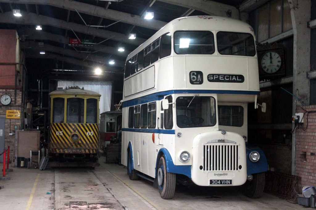 Oporto C65 and Newcastle & Gosforth 49 remain in their usual places in the tram depot but they have a new neighbour with the arrival of a Daimler bus – arriving on 24th April. This bus is ex Darlington and was recently listed for sale on ebay with the last bid being for £12,100. Presumably this bus will be another addition for the transport offering in the 1950s town. (All Photographs by Trevor Hall, 25th April 2019)