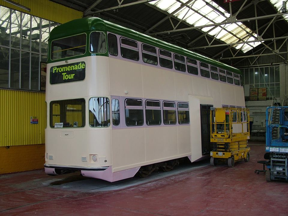 A sneak preview of 707's new/old look with the tram in the Paint Shop receiving its Millennium livery. Other than the enlarged centre doors this should be an accurate recreation of how 707 looked when newly rebuilt in this shape in 1998. (Photo courtesy of Blackpool Heritage Tram Tours)