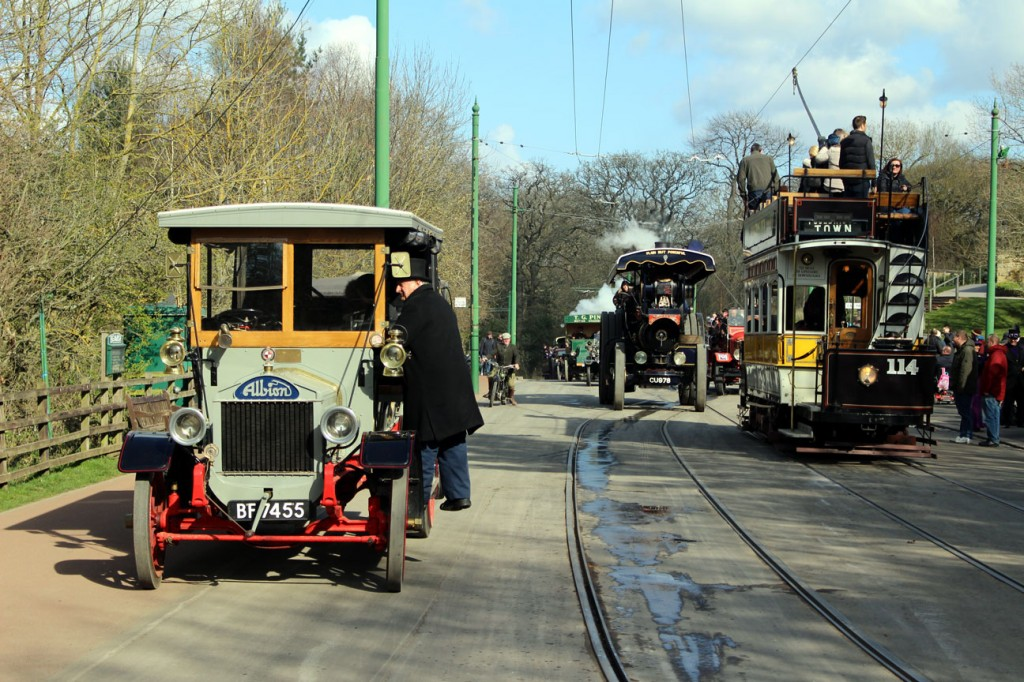 A busy scene at the Entrance towards the end of 13th April with passengers getting off Newcastle 114 as an Albion Charabanc receives some attention and a queue of other vintage transport waits behind led by a Fowler Showmans Road Locomotive. (All Photographs by Gareth Prior)