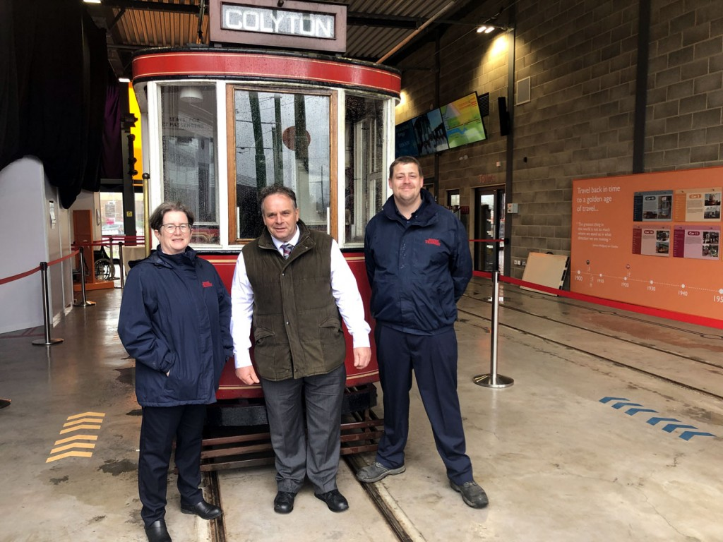 Jenny Nunn, Neil Parish MP and Lee Taylor in front of 14 at Seaton Station. (Photography courtesy of Seaton Tramway)