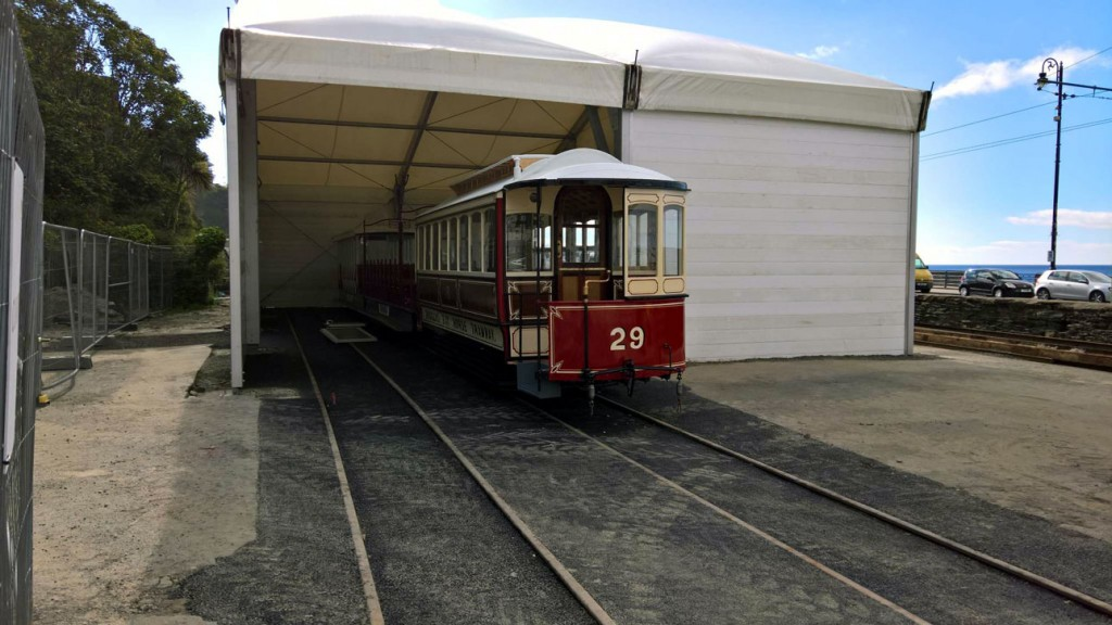 Our first look at the new marquee with 29 at the front with 42 immediately behind and then 45 at the back. Tracks have only been laid in one half of the marquee at this point and it seems two trams can be fitted on each road with 29 coming out the front in this view.