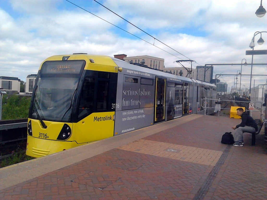3116 departs from Cornbrook with a service to Ashton.