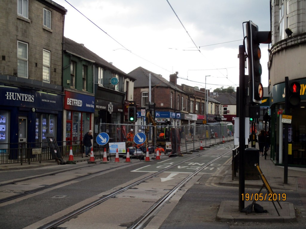 This is Hillsborough Corner itself where the work to put new tracks down is under way in this shot.
