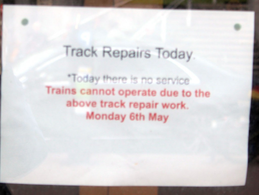 Confirmation at the other end of the line – Palace Pier where the Visitor Centre is located – that the service isn't running because of track repairs.