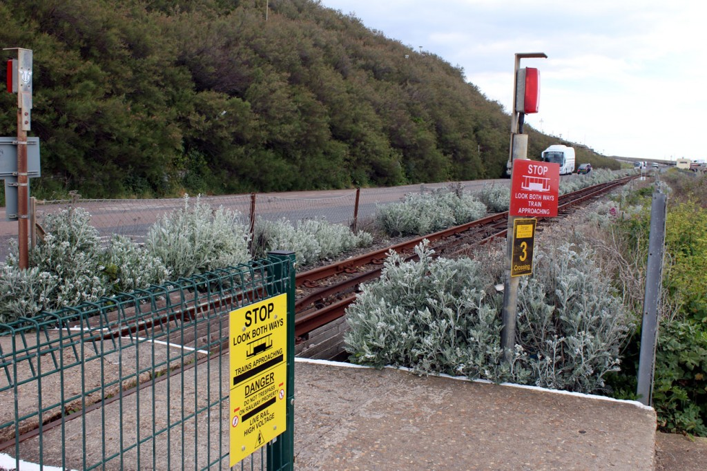 Look both ways before crossing – and see that there are no trains running either way! One of the many crossings along the line but Monday 6th May would see no trains running.