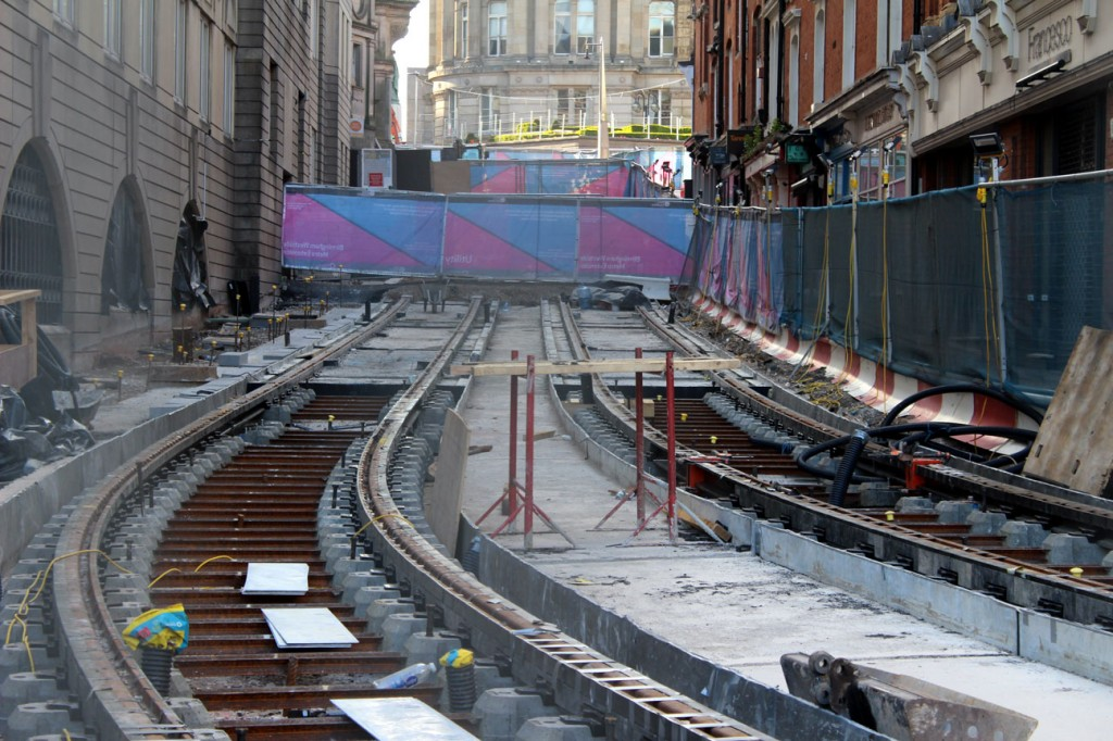 Pinfold Street itself with track in place.