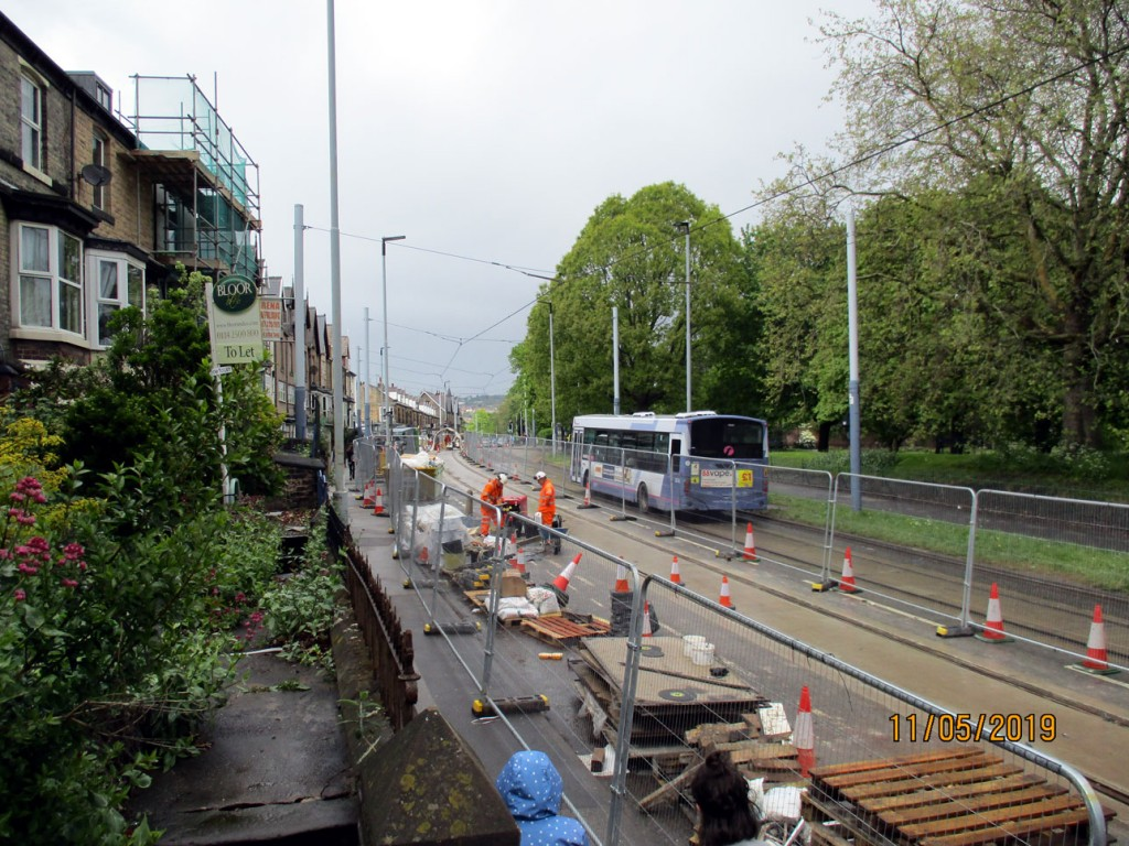 As a First Bus makes it way gently past the worksite we see more of the track relaying in progress. (All Photographs by Stuart Cooke, 11th May 2019)