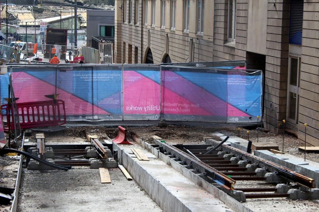 Looking back down Pinfold Street towards New Street station. The track stops here with further progress expected in the coming months.