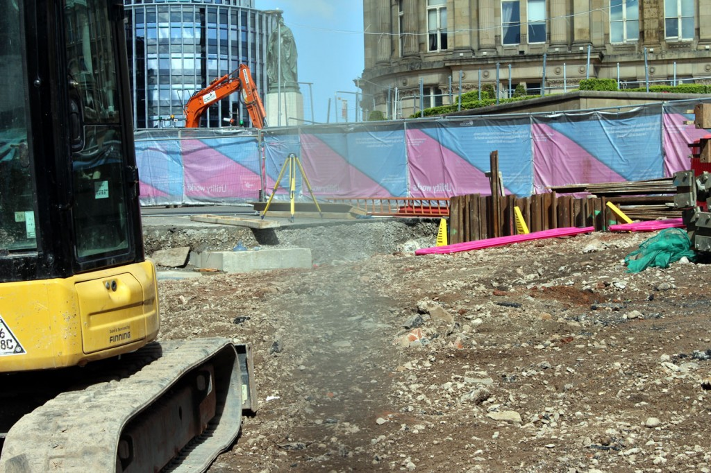 This is in Victoria Square where in this location there is no track yet but preparation work is well underway. (All Photographs by Gareth Prior, 4th May 2019)
