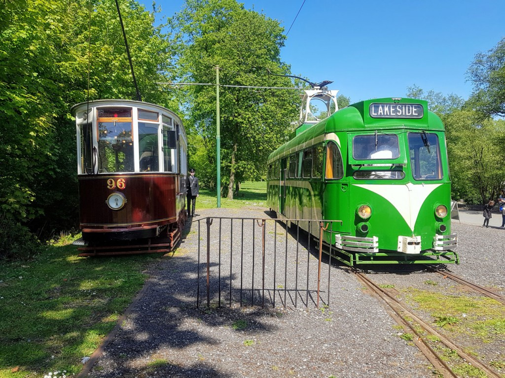 The two trams currently available for service at Heaton Park are seen side-by-side at Lakeside here with Hull 96 and Blackpool 623. (Photographs x4 by David Maxwell)