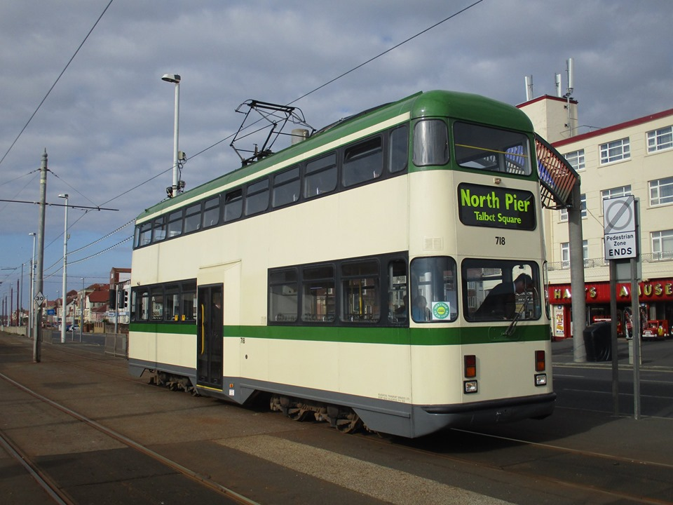 Also on 5th May, Bispham is the setting for this scene of 718, showing off a more traditional colour scheme, if not body shape!