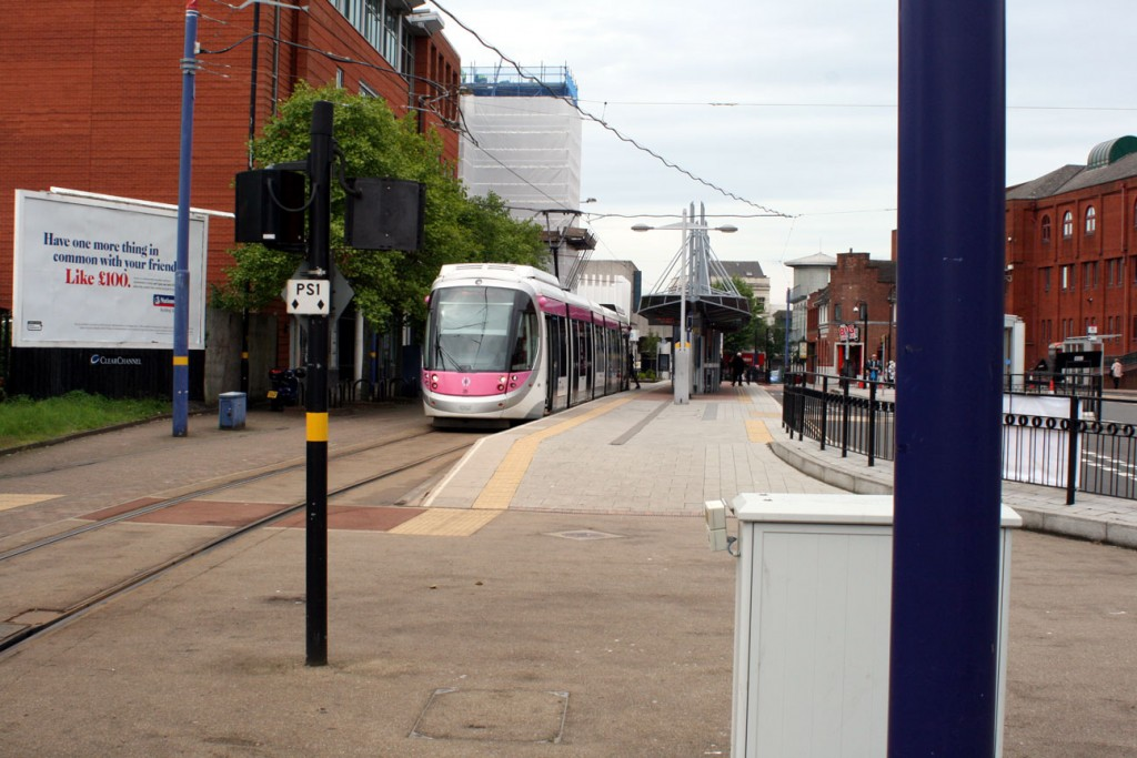 Starting off at the current Wolverhampton St George's terminus – which will remain active once the extension opens but with less trams serving it than now – where battery fitted Urbos3 28 waits for departure.