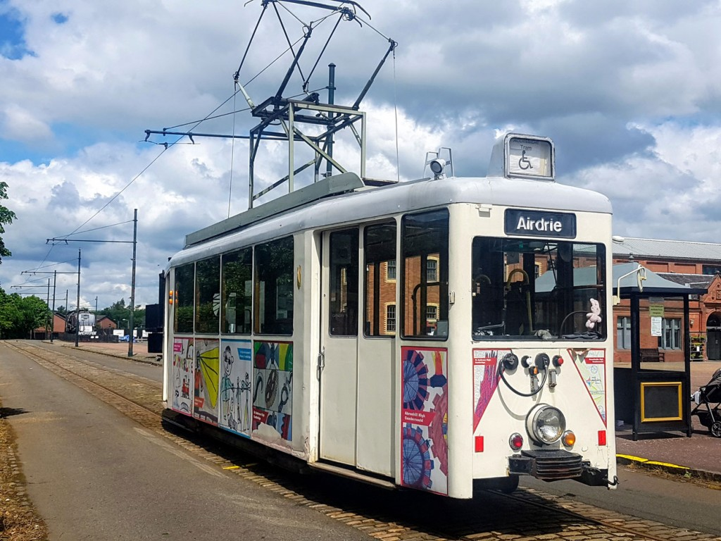 Dusseldorf 392 retains its special livery which features artwork by school children. It also has a wheelchair lift fitted an as a result is the tram which is probably used the most regularly. We catch it here at the Entrance.