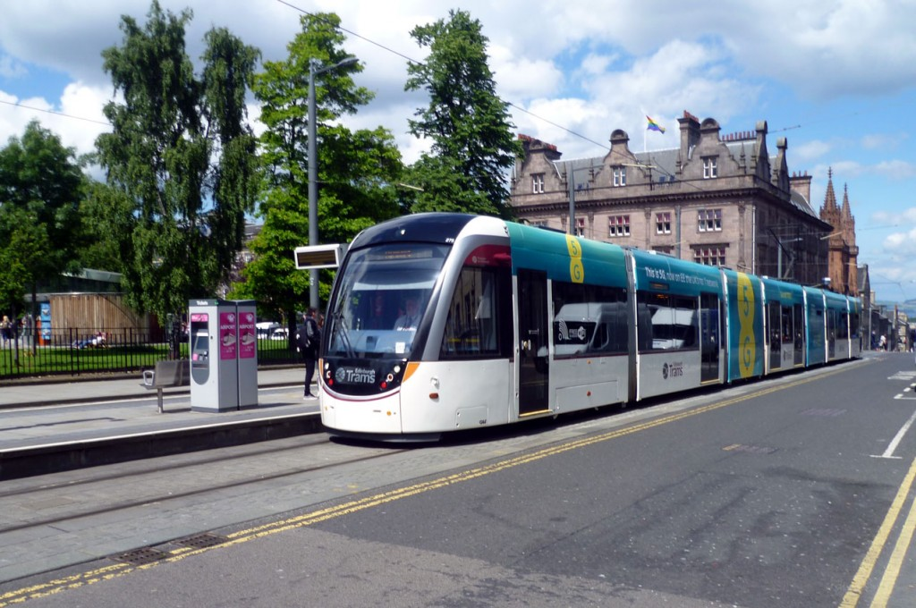 Another shot of the tram in its EE 5G advert at St Andrew Square.