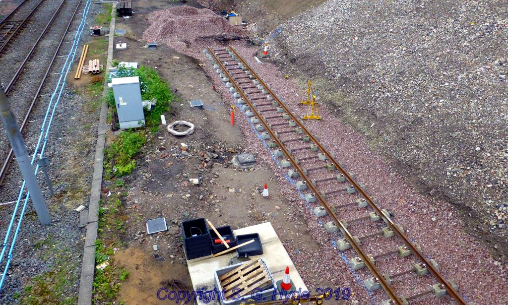 The other end of the stop and beyond the end of the new platform where track is also being laid to allow a double tram to be stabled out the way. (Both Photographs by Steve Hyde, 11th June 2019)