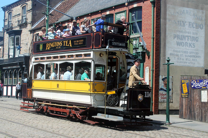 It's midweek in June but still Newcastle 114 has a full load of passengers as it approaches the clockwise stop in the town.