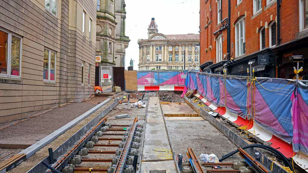 In this view we look the other way up Pinfold Street where track is still to be laid.