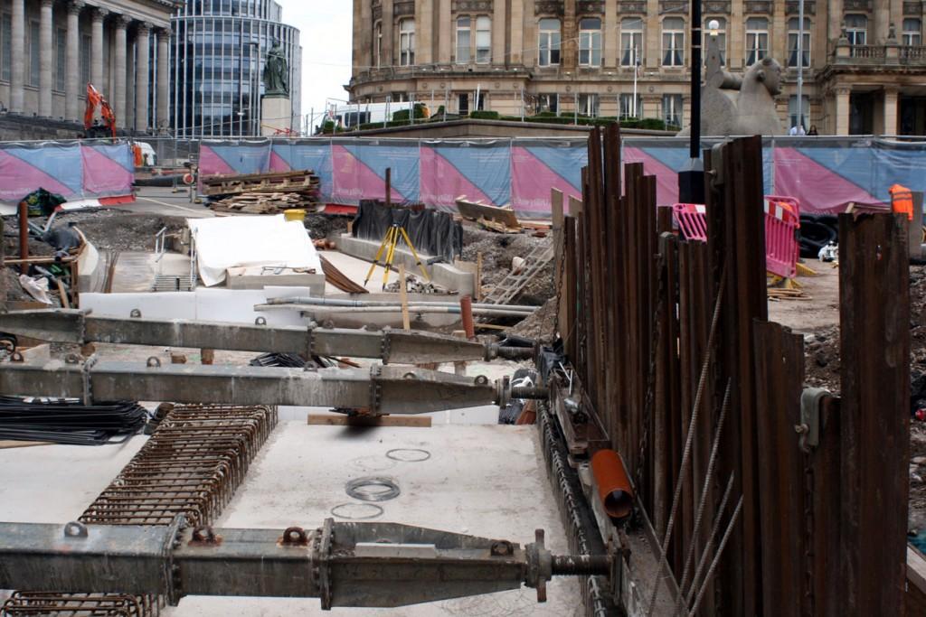 Into Victoria Square where preparations of the new track based are in progress.
