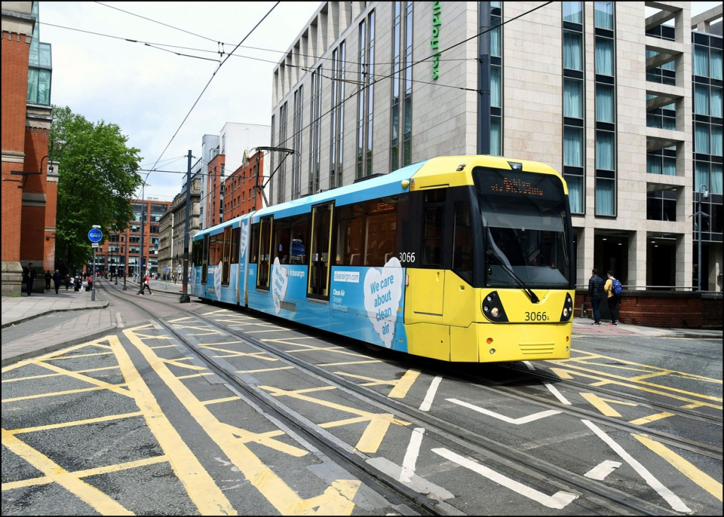 In this image we see 3066 on Aytoun Street with a service to Ashton-under-Lyne. (Photograph by Roland Bull, 14th June 2019)