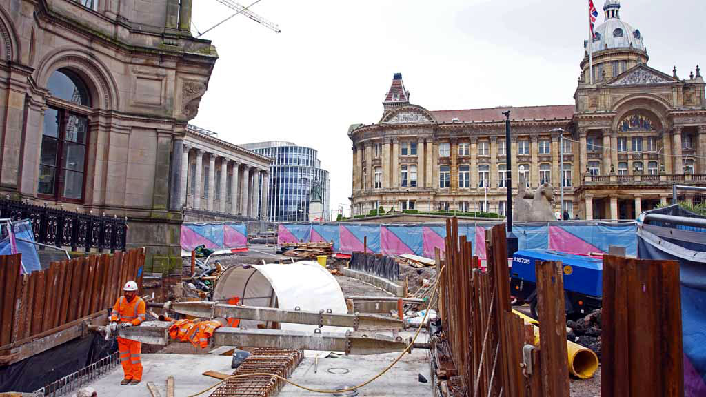 Into Victoria Square where the trackbed is being prepared for installation of track.