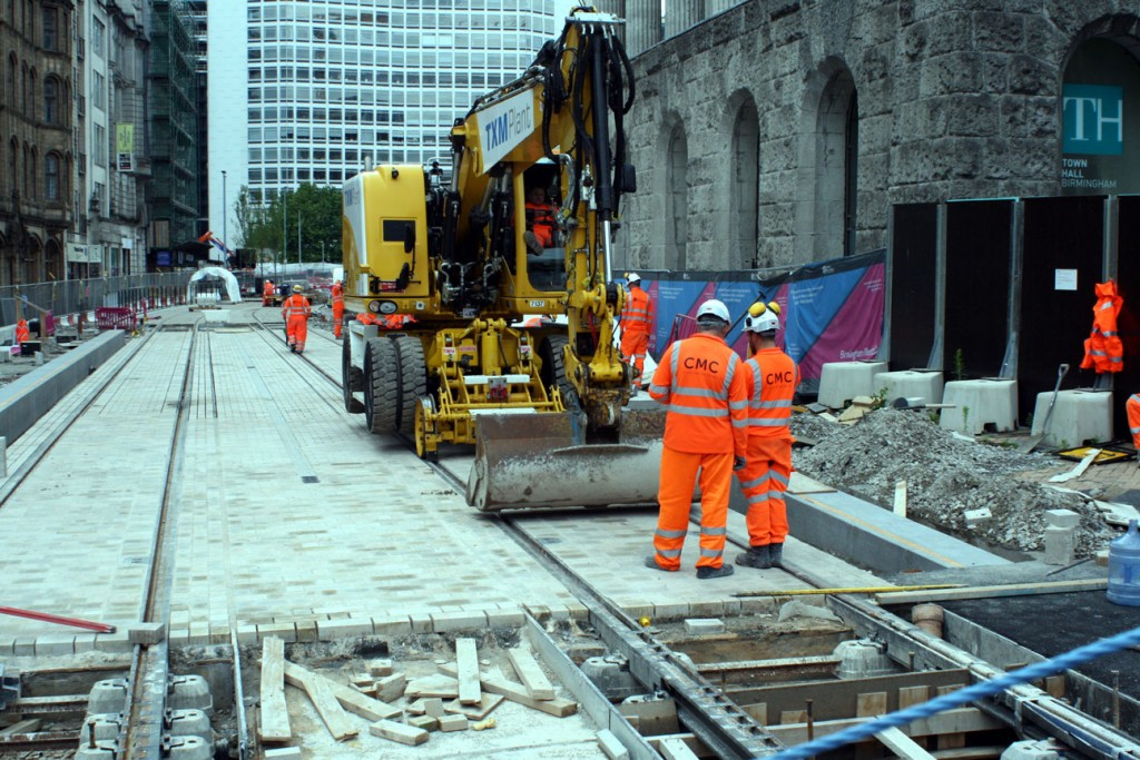 Outside Birmingham Town Hall in Victoria Square with on track plant being used in the track laying process. (All Photographs by Martin Miller, 19th June 2019)