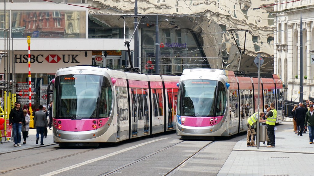 The two trams of the moment pass in Birmingham City Centre. 26 on the left and 18 on the right. (All Photographs by Andy Walters, 5th June 2019)