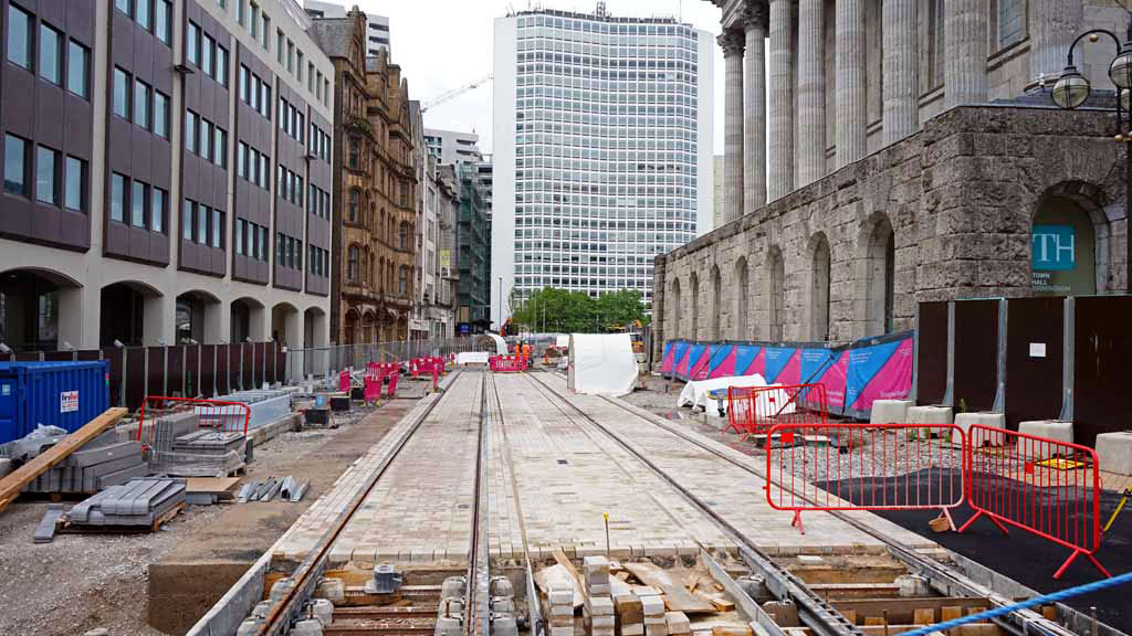 A straight section of track through Victoria Square. The top surface has also been added here with block paving chosen, almost going back to ye olde setts!