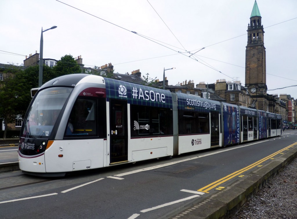 275 at West End Princes Street on 29th July with its simple advert for Scottish Rugby now applied.