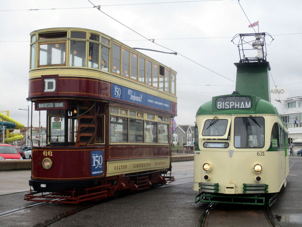 "The two ""star trams"" of Friday 19th July were Bolton 66 – having only recently returned to service after overhaul – and Brush 631 – a tram which has spent various periods off the road so far in 2019 – and we see both sitting on the loop at Pleasure Beach."