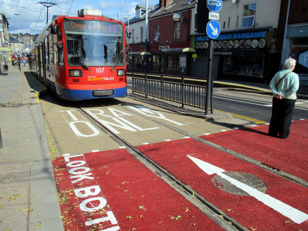 Driver training was also underway on the way to Middlewood and Malin Bridge section with 107 seen here being used for such a purpose. The crossing behind the tram is a notorious scene of many incidents with pedestrians and trams and has now received new bright red surface to try and avoid pedestrians just stepping out in front. (Both Photographs by Stuart Cooke, 18th July 2019)