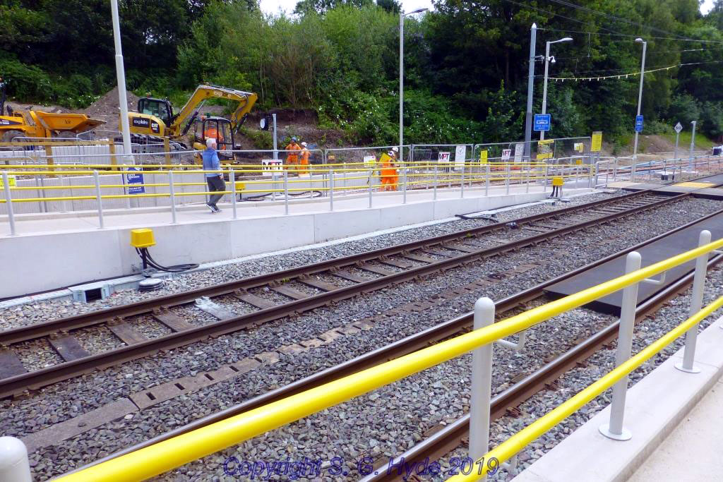 A view of the existing inbound platform at Crumpsall with the yellow axle counter electronics housings and rail mounted counter heads installed.