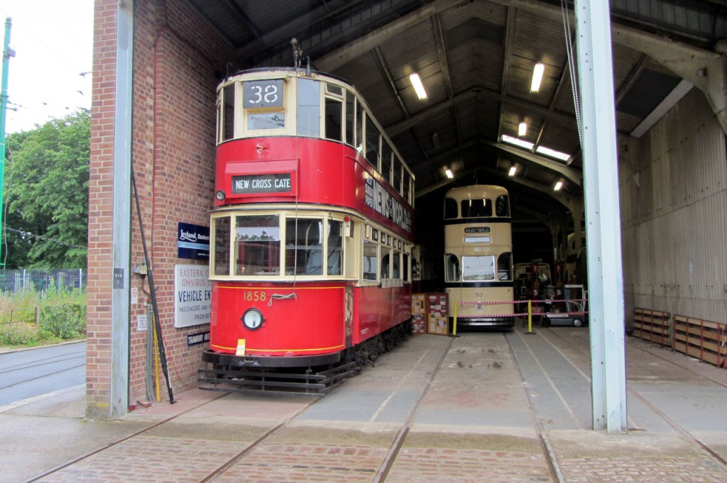 Inside the tram depot and two of the trams not needed for service on this day are captured on camera. In the foreground we see London Transport 1858 whilst Sheffield 513 is on the right.