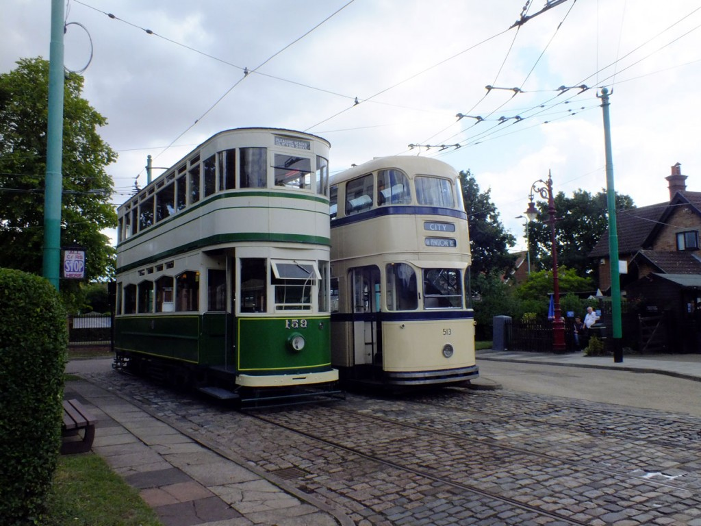 The traditional shot at Carlton Colville at Chapel Road terminus with Blackpool 159 and Sheffield 513 waiting for their next journeys.