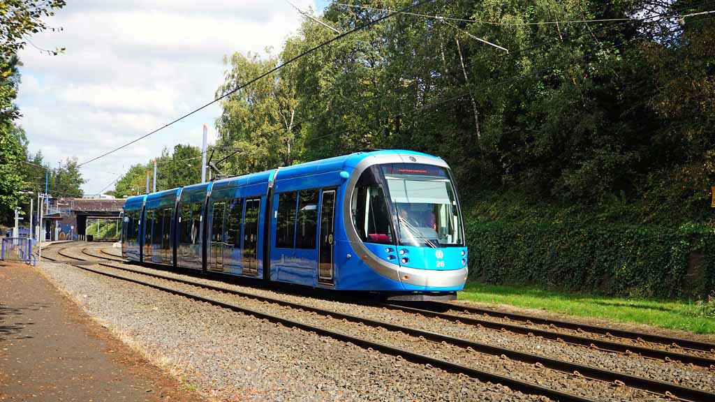 First day in blue for 26 was 17th September. Looking all bright and shiny the tram is captured in this image.