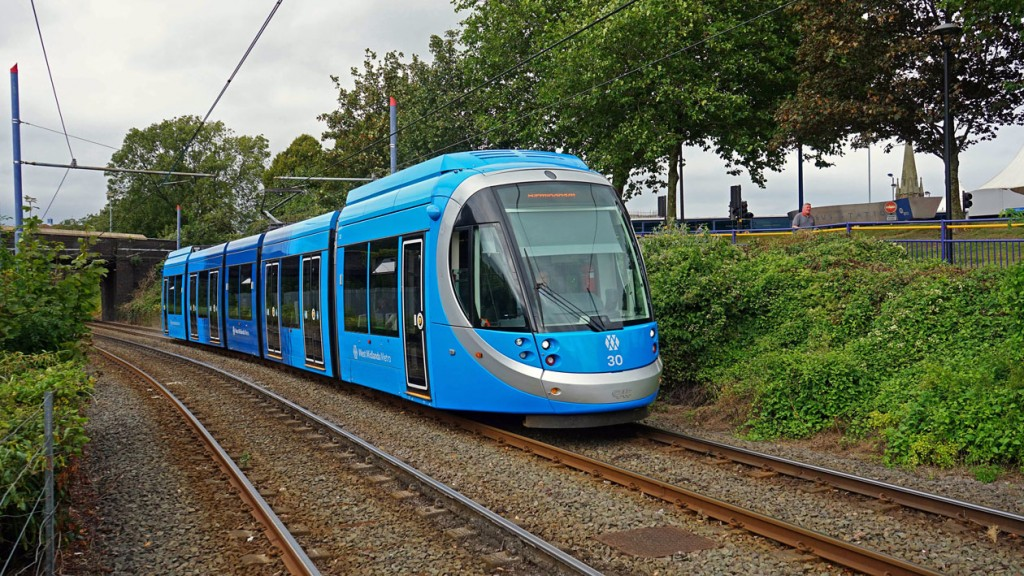30 is seen here approaching West Bromwich Central on its first day in passenger service with batteries fitted. The tram has become the 13th battery fitted tram to run.