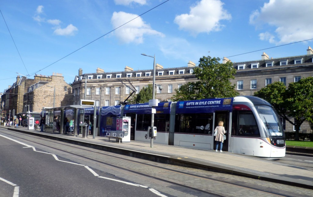 270 is seen here on 7th September at West End as the second of the trams to advertise American Express. (Photograph by Roy Calderwood)