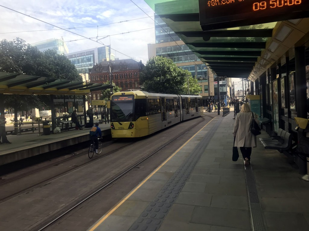 3094 is now back in fleet livery following the removal of the adverts for Olivia Burton which had been applied back in May. This view shows the tram leaving St Peter's Square with a cyclist getting a bit close in pursuit. (Photograph by Erik Doidge, 3rd September 2019)