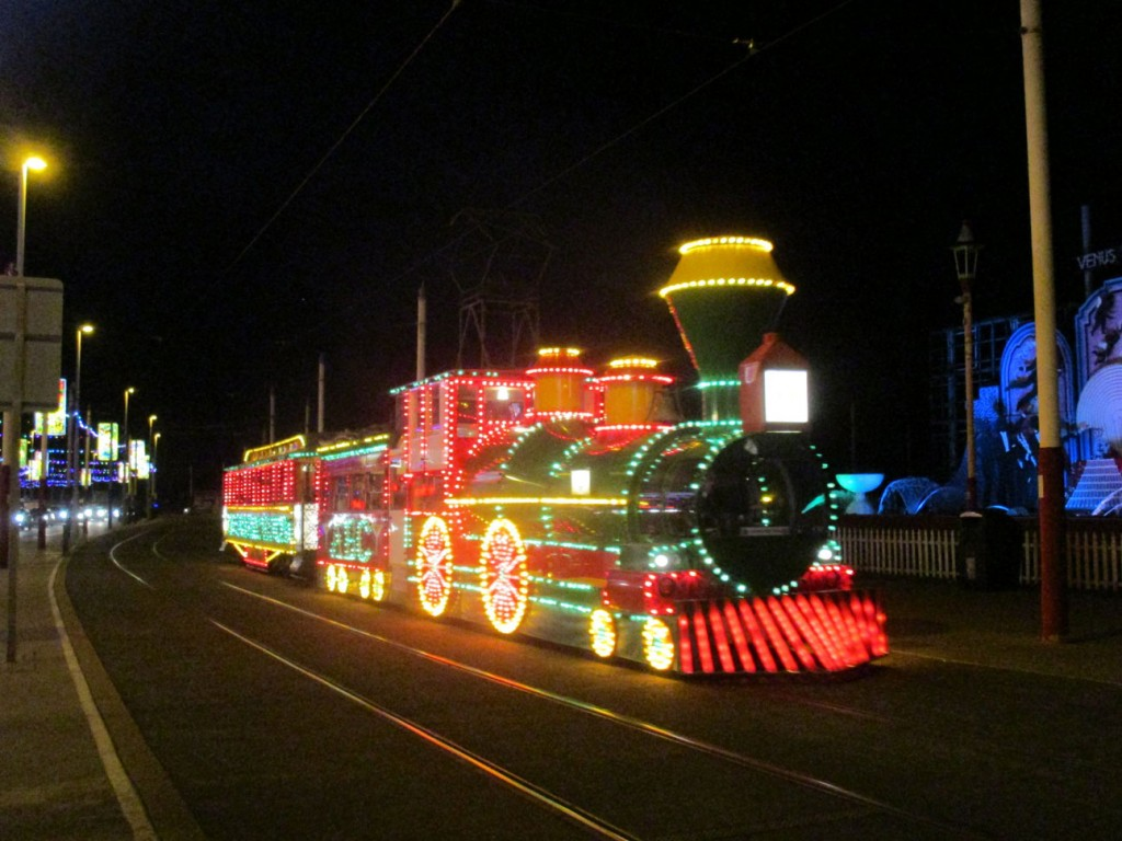 It is the illuninations so we better show you an illuminated tram as well! The very familiar sight of the Western Train as it heads away from Pleasure Beach passing the Venus Reborn tableau which seems to have been located here for nearly as long as the train as been operational! (All Photographs by Rob Bray, 31st August 2019)