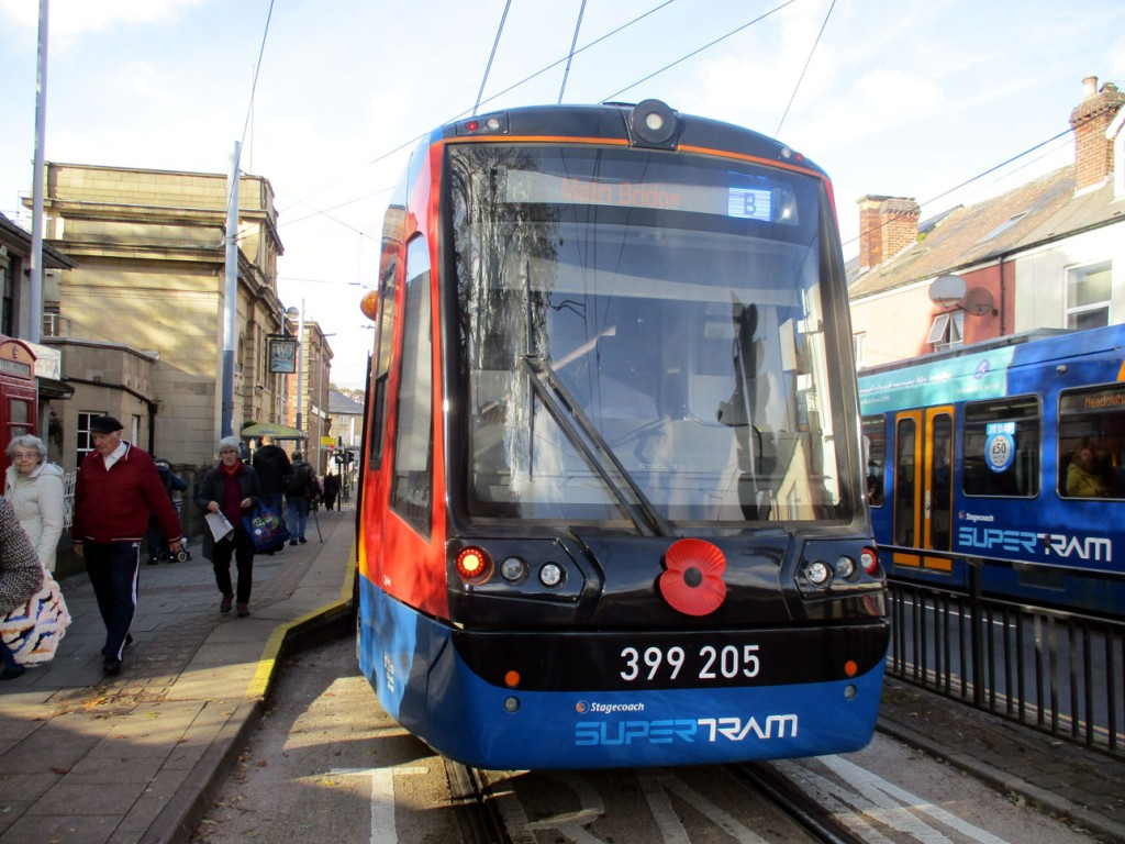399 205 shows its own poppy displayed on the front of the tram.