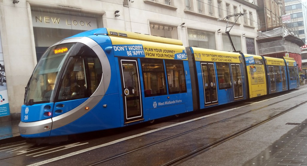 36 is seen on an inbound working to Grand Central at Corporation Street complete with blue livery and My Metro App vinyls. (Photograph by Mark Cufflin, 25th October 2019)