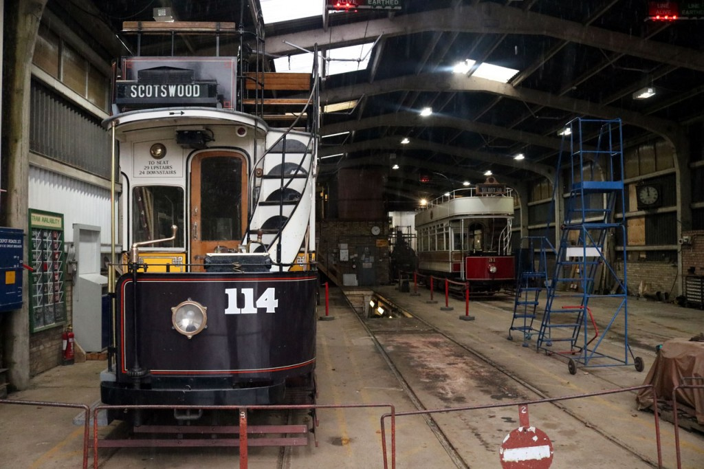 Back in the main tram depot and Newcastle 114 and Blackpool 31 are joined by Steam Elephant seen at the very rear behind 31.