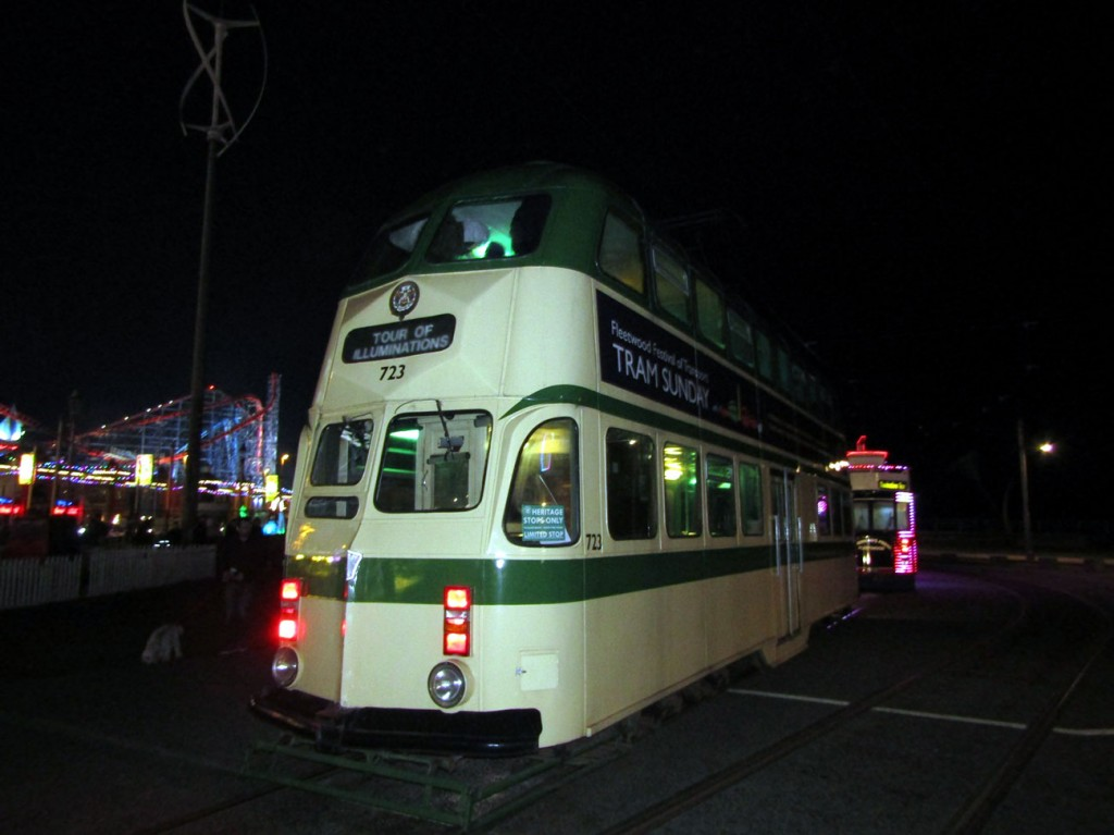 Evening illumination tours saw five trams run including the three feature cars (of which we can just see the Trawler here) plus two Balloons. One of those Balloons was 723 which is on Pleasure Beach loop here. (All Photographs by Peter Narramore, 30th October 2019)