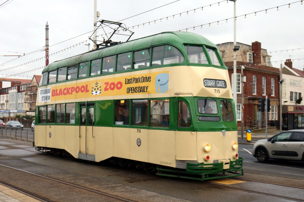 The sixth tram at the start of the day was Balloon 715 which we see here at Bispham on its way back to Starr Gate.