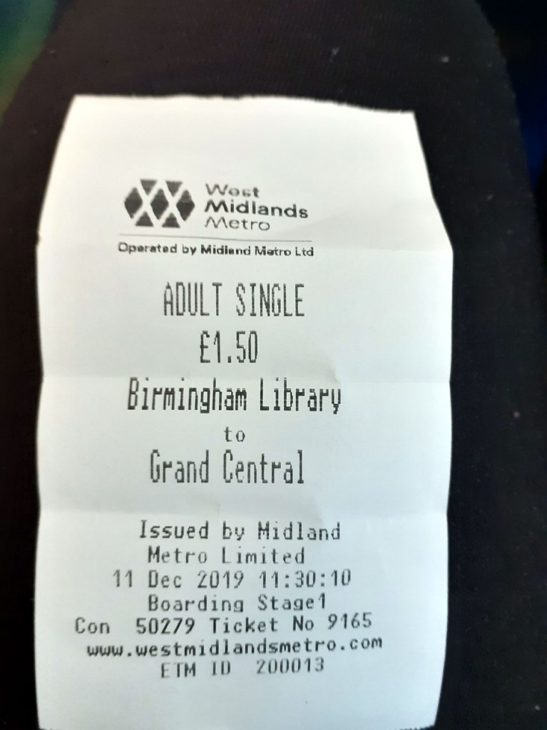 This is the very first ticket sold on the extension. £1.50 for an adult single between Birmingham Library and Grand Central. (Photograph by Andy Walters)
