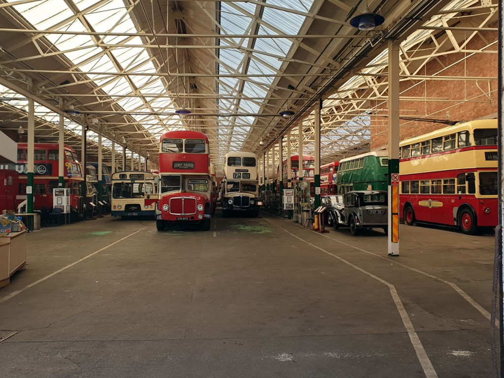 Clearly showing its transport heritage the inside of the museum is seen here with part of the collection.