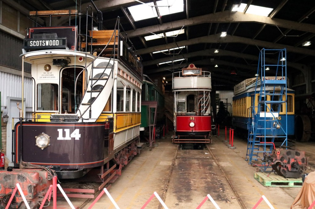 Inside the tram depot with Newcastle 114, Grimsby & Immingham 26, Blackpool 31 and Oporto 196. 114's motors are seen undergoing maintenance.