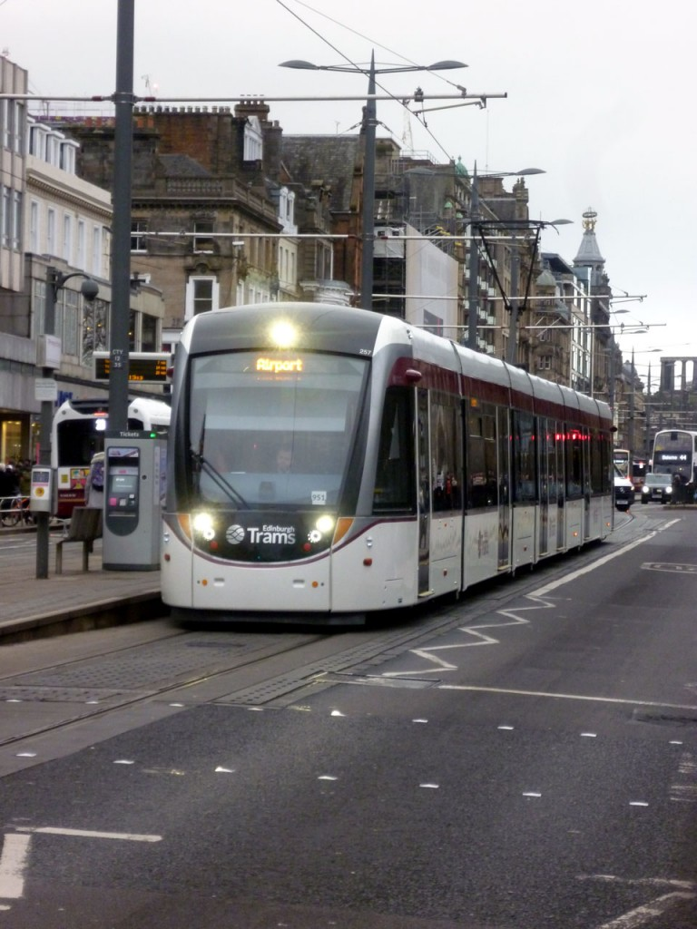 The newly advert free 257 is seen on Princes Street here operating through to the Airport. (Photograph by Roy Calderwood, 25th January 2020)