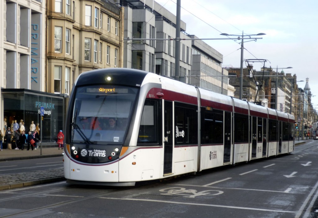 267 runs along Princes Street on its way to the Airport showing off its standard fleet livery now in place once more. (Photograph by Roy Calderwood, 28th January 2020)